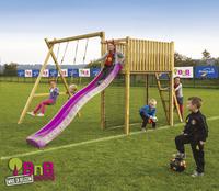 BnB Wood portique avec tour de jeu Goal et toboggan mauve