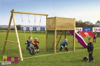 BnB Wood portique avec tour de jeu Goal et toboggan mauve-Image 2