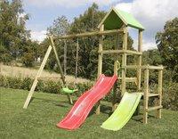 BnB Wood schommel Little Eden Duo met rode en lime glijbaan-Afbeelding 2