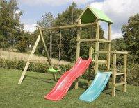 BnB Wood portique Little Eden Duo avec toboggans rouge et turquoise-Image 2