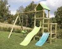 BnB Wood portique Little Eden Duo avec toboggans Lime et turquoise-Image 1