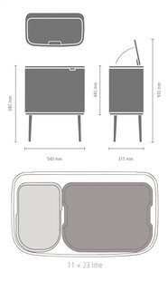 Brabantia Afvalemmer Touch Bin Bo white 11 l + 23 l-Artikeldetail