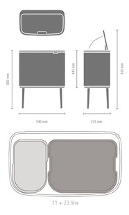 Brabantia Afvalemmer Touch Bin Bo matt black 11 l + 23 l-Artikeldetail
