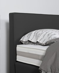 Boxspring fixe Winston aspect cuir anthracite 140 x 200 cm-Détail de l'article