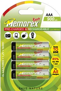 Memorex 4 piles AAA Ready rechargeable