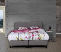 Boxspring fixe Charles tissu d'ameublement gris clair 160 x 200 cm-commercieel beeld