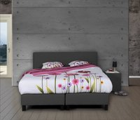Boxspring fixe Charles tissu d'ameublement anthracite 160 x 200 cm