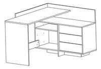 Demeyere Meubles Bureau Thales blanc/décor chêne-product 3d drawing