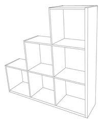 Demeyere Meubles Bibliothèque Stairs décor chêne/décor blanc-product 3d drawing