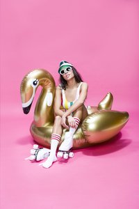 Swim Essentials luchtmatras voor 1 persoon gouden zwaan-Afbeelding 1
