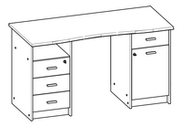 Demeyere Meubles Bureau Monaco 135 cm eikdecor-product 3d drawing