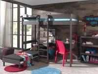 Lit surélevé/bureau Pino taupe avec siège convertible-Image 2