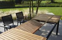 Table de jardin à rallonge York teck/noir 220 x 100 cm-Détail de l'article