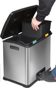 Eko Poubelle à pédale Recycle Rejoice inox/noir 24 l-Image 1