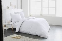 Home lineN Housse de couette Uni blanc coton 200 x 200 cm