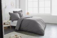 Home lineN Housse de couette Uni gris foncé flanelle 140 x 200 cm