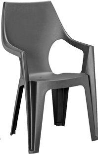 Allibert chaise de jardin Dante - dossier haut gris graphite-Avant
