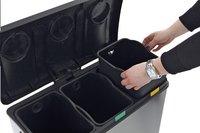 Eko Poubelle à pédale Recycle Rejoice inox/noir 36 l-Image 1