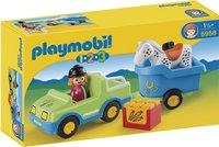 Playmobil 1.2.3 6958 Véhicule avec remorque à cheval
