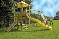 BnB Wood complete schommelset Zolder met gele glijbaan