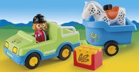Playmobil 1.2.3 6958 Véhicule avec remorque à cheval-Image 1