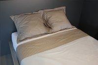 Sleepnight Drap de lit Satinada taupe satin de coton avec lignes verticales 240 x 300 cm-Image 3