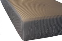 Sleepnight Drap-housse Satinada anthracite satin de coton avec lignes verticales 160 x 200 cm-Avant
