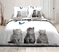 Home lineN Housse de couette Cats and Butterflies flanelle