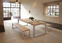 Table de jardin Soho teck/blanc L 240 x Lg 100 cm-Image 1