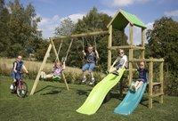 BnB Wood portique Little Eden Duo avec toboggans Lime et turquoise-Image 4