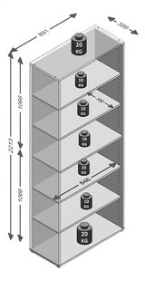 Boekenkast Calvia 8 - 6 planken -Artikeldetail