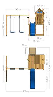 Wickey portique Smart Lodge 120 avec toboggan bleu-Détail de l'article
