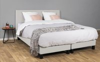 Couche Couche Boxspring fixe James aspect cuir blanc 180 x 200 cm-Image 1