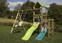 BnB Wood portique Little Eden Duo avec toboggans Lime et turquoise-Image 3
