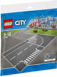 LEGO City 7281 Wegenplaten - Bocht en T-splitsing