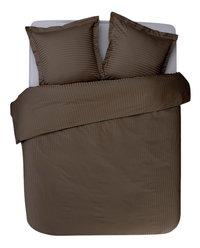 Sleepnight Housse de couette Satinada vertical satin de coton taupe 140 x 220 cm-Avant