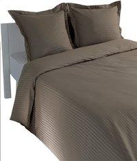 Sleepnight Housse de couette Satinada vertical satin de coton taupe 140 x 220 cm-Image 1