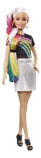 Barbie poupée mannequin  Cheveux arc-en-ciel pailleté-Côté gauche