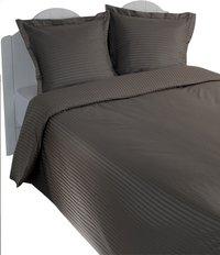 Sleepnight Dekbedovertrek Satinada vertical katoensatijn antraciet 200 x 220 cm-Afbeelding 1