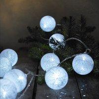Guirlande lumineuse LED avec boules de laine L 3 m blanc froid-Image 1