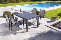 Jati & Kebon table de jardin à rallonge Livorno noir/anthracite 152 x 90 cm-Image 2