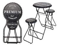 Table de bar avec 2 tabourets noir-Détail de l'article