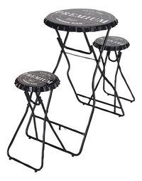 Table de bar avec 2 tabourets noir-Avant