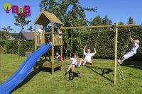 BnB Wood schommel met speeltoren en kweektafel Nieuwpoort met blauwe glijbaan