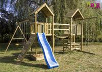 BnB Wood portique Nieuwpoort Duo Adventure avec toboggan bleu-Image 1