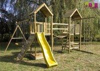 BnB Wood ensemble portique complet Nieuwpoort avec toboggan jaune