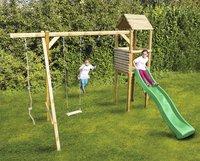 BnB Wood portique en bois Tildonk avec toboggan vert pomme