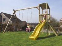 BnB Wood portique avec tour de jeu Diest et toboggan jaune