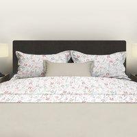 Romanette Drap de lit Fay blanc/rose coton-Image 1