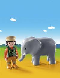 PLAYMOBIL 1.2.3 9381 Soigneuse avec éléphanteau-Image 1